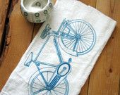 Screen Printed Organic Cotton Bicycle Flour Sack Tea Towel - Soft and Absorbent Hand Towel - Eco Friendly and Awesome