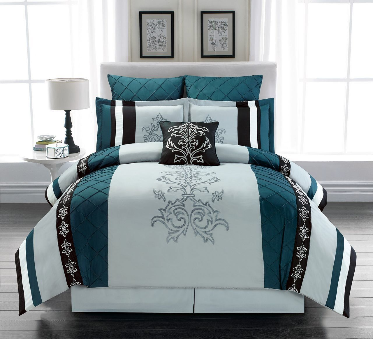 7 Piece Magee Teal Gray Comforter Set Grey Comforter Grey