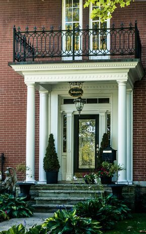 Captivating Traditional Entrance, Wrought Iron Balcony Railing, Leaded Glass Door,  Topiaries    Curated By: R U0026 D Glass Ltd.