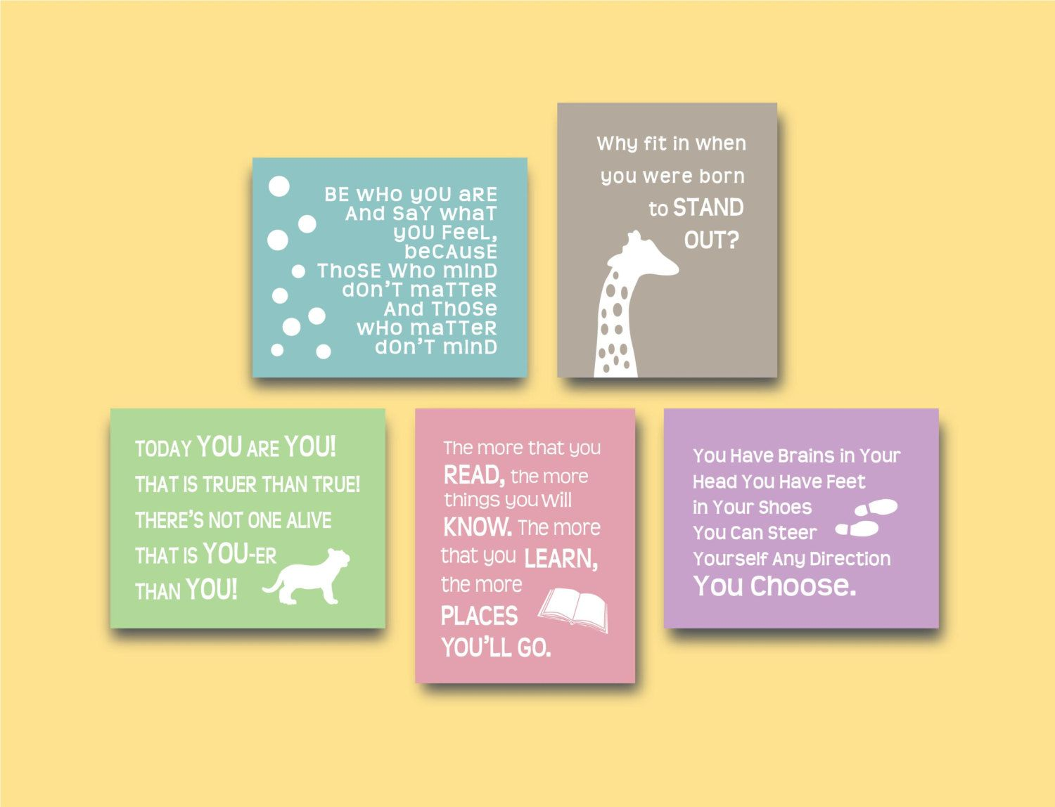 Dr Seuss Quotes 5 x 7 Prints Childrens Kids Wall Art Set of (5 ...