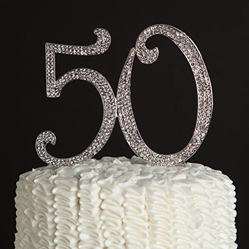 Fifty 50th Birthday Anniversary Decoration 50 Gold Rhinestone Cake Topper