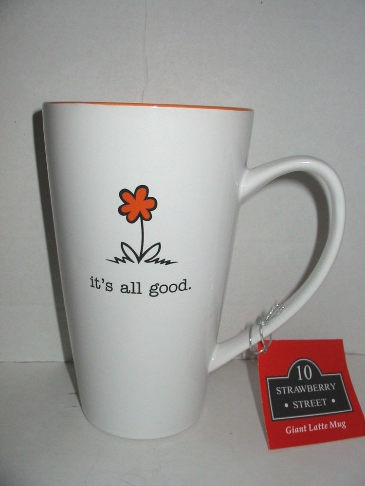 10 Strawberry Street Coffee Tall Jumbo Latte Cup Mug 32 Oz It S All Good Orange Mugs Just Love Coffee Latte Cups