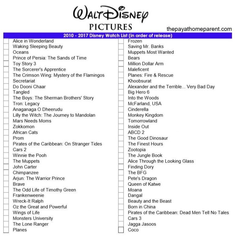 Free Disney Movies List Of 400 Films On Printable Checklists