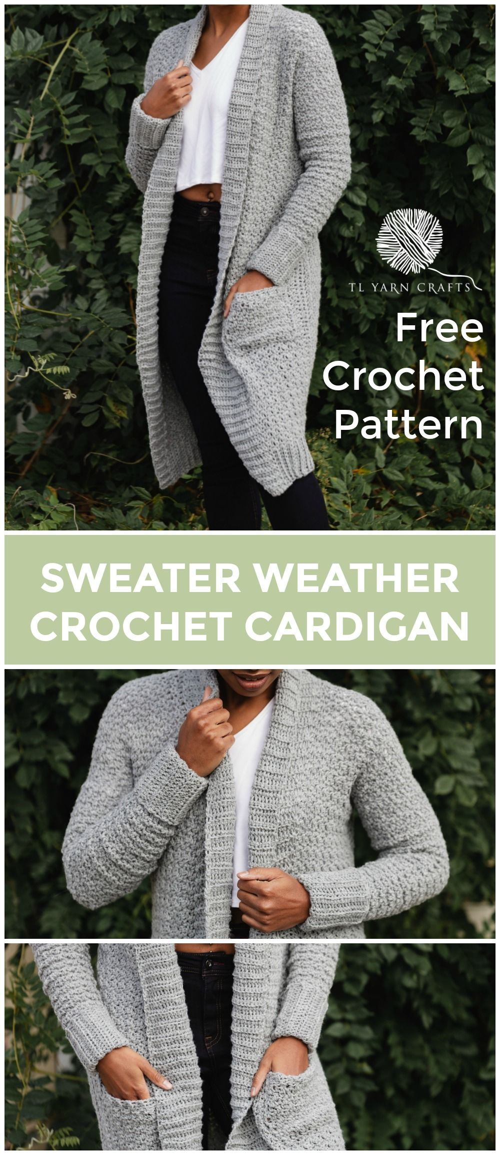 The Sweater Weather Cardi, a Long Modern Cozy Crochet Cardigan Pattern with Pockets #sweatercrochetpattern