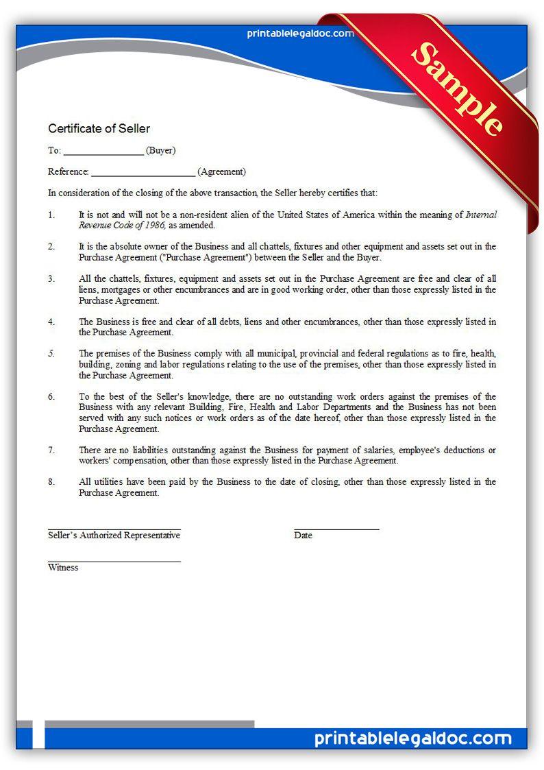 Free Printable Certificate Of Seller  Sample Printable Legal