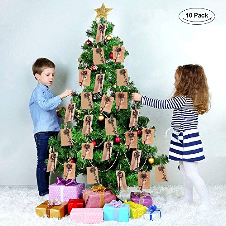 Aytai 10pcs Santa Keys 10pcs Santa Tags, Christmas Tree Ornaments ...