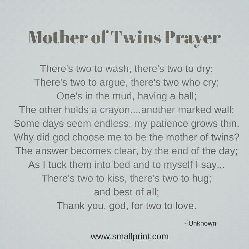 Mother Of Twins Prayer Babies Twin Quotes Nursery Twins Mom