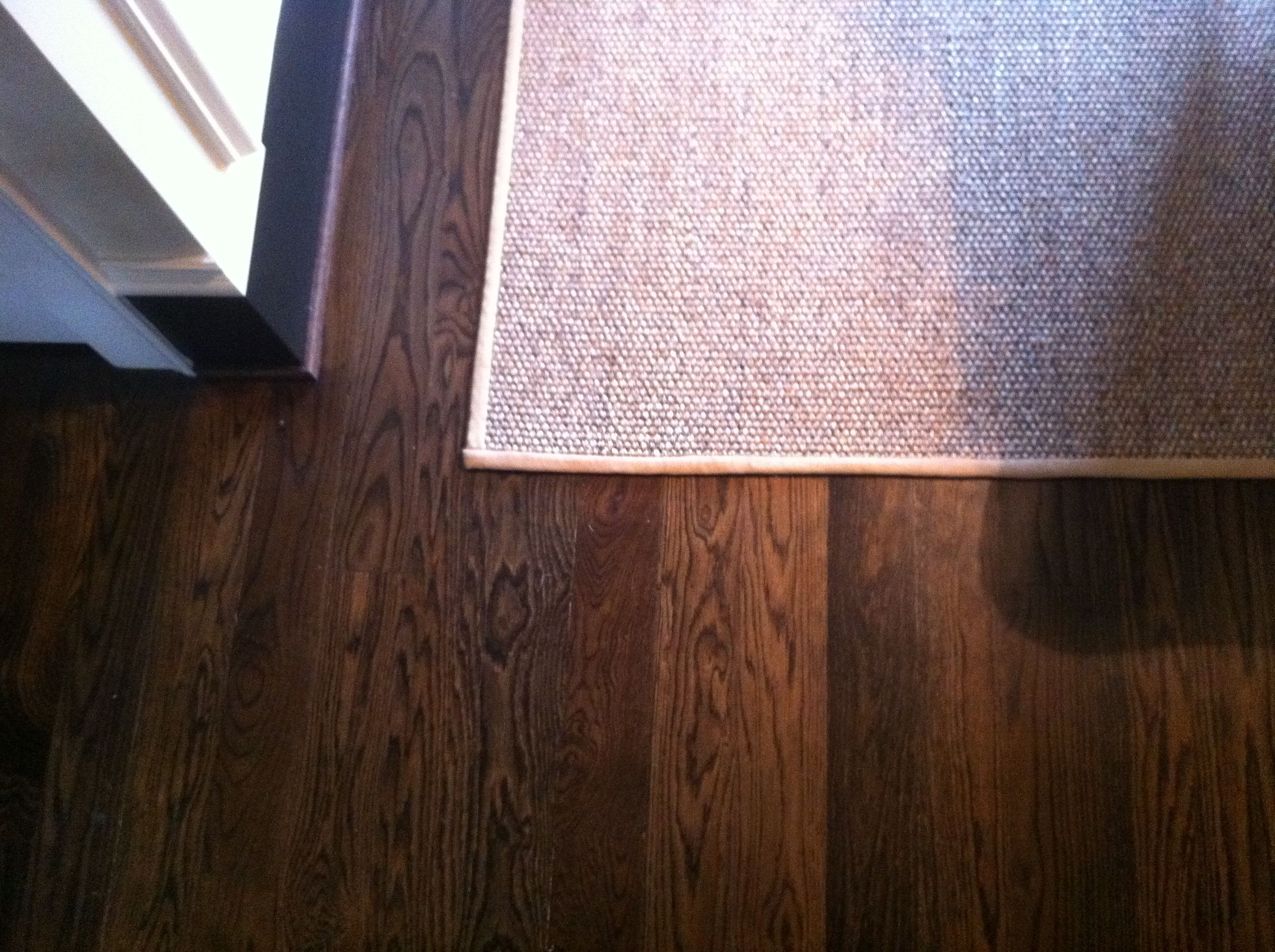 Custom stain blend oak floor of special walnut jacobean on for Staining hardwood floors