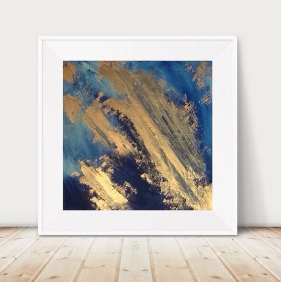 Large Abstract Painting Blue And Gold Wall Art Metal 18x18 Metallic Sea Textured