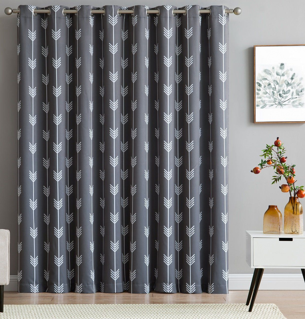 Thermal Patio Door Curtains With Grommets Hlc Me Arrow Print Thermal Grommet Blackout Patio Door Curtain For