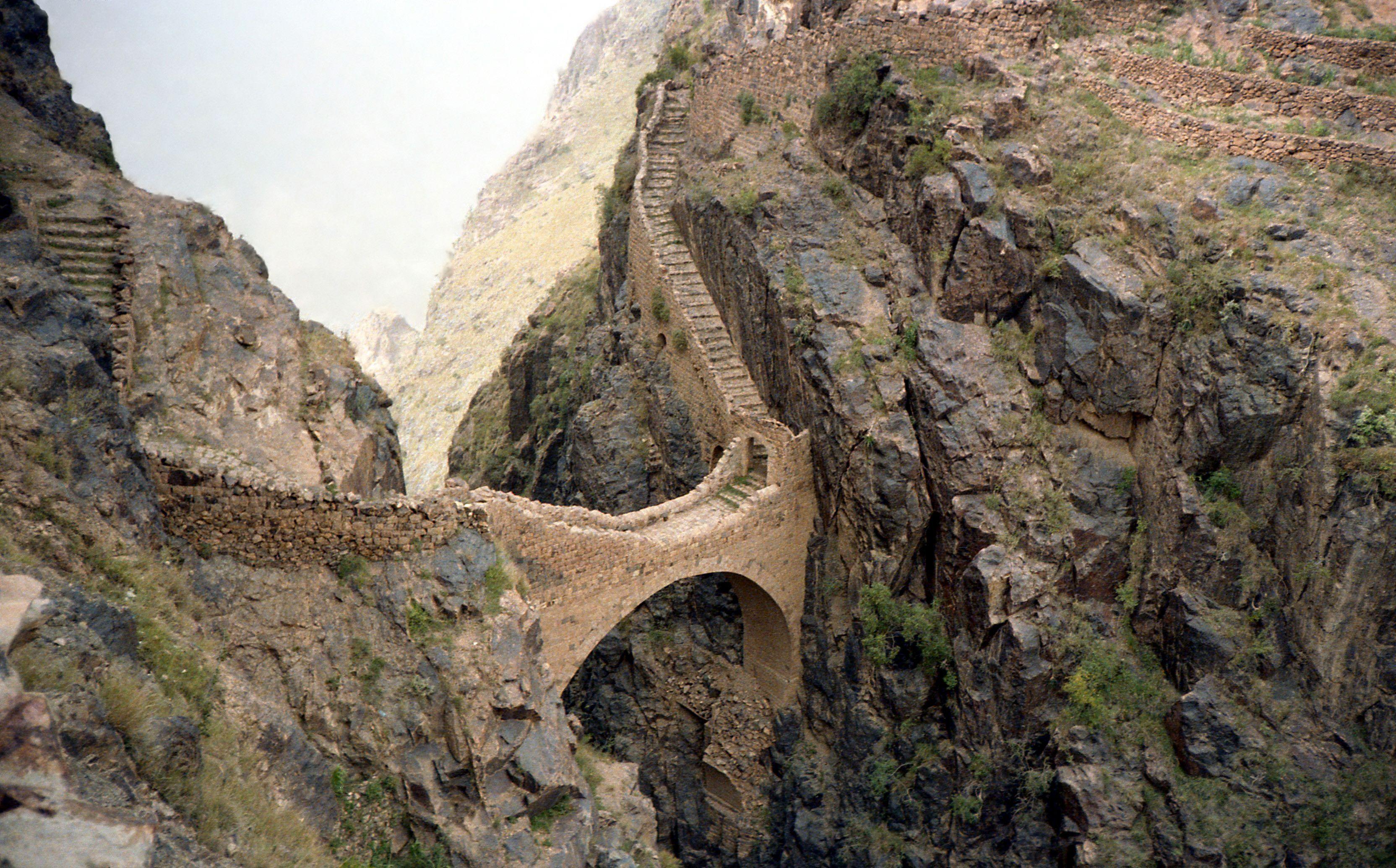Mountain Bridge In Yemen Pedestrian Bridge Footbridge Yemen