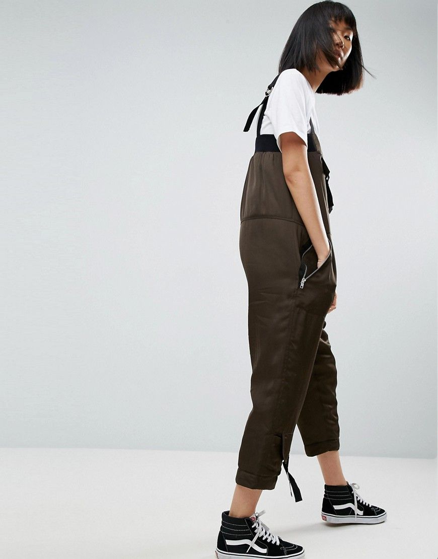 Satin Padded Military Jumpsuit - Khaki Asos Cheap Price Factory Outlet Cheap Sale Websites Browse Sale Online Sale Classic Discount Newest V4ZMA