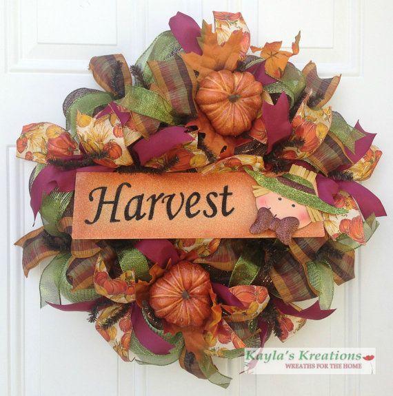 Harvest Pumpkin Wreath, Orange Scarecrow Wreath, Fall Deco Mesh Wreath, Thanksgiving Wreath, Autumn Wreath, Burgundy Wreath, Moss Green...for $62.00 by Kayla's Kreations