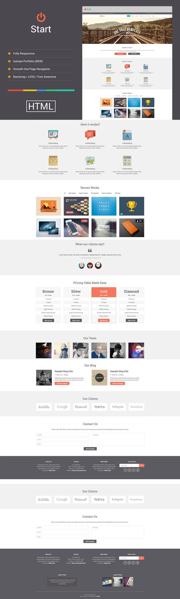 Start Responsive One Page Template | Start Responsive One Page Template Pinterest Template