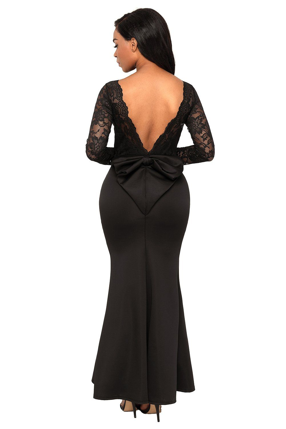 Chase secret womens lace long sleeve bow back elegant evening gown