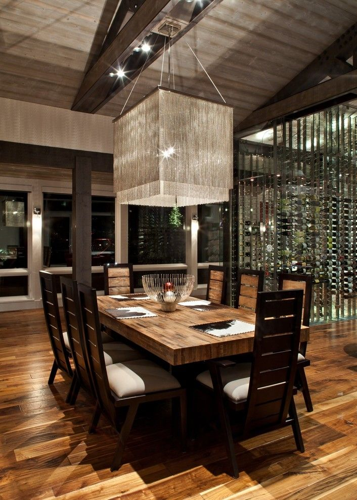 Genial Modern Formal Dining Room Set Beautiful Wood Floor Tall Back Chairs Table  Lamps Contemporary Style Of Coolly Modern Formal Dining Room Sets To  Consider ...