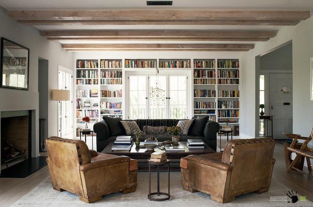 Fascinating Built In White Library Design In A Large Living Room