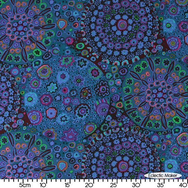 Kaffe Fassett Fabric Millefiore in Blue from Rowan fabrics for patchwork quilting and dressmaking from Eclectic Maker [GP92 Blue]