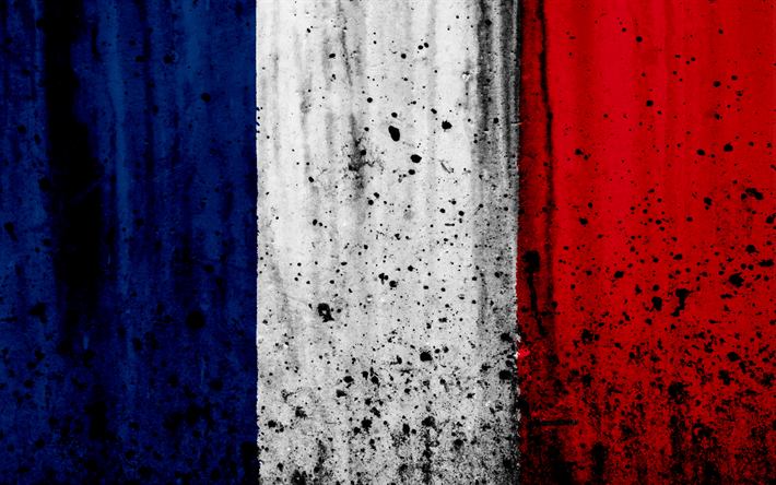 Download Wallpapers Flag Of France 4k Grunge Stone Texture