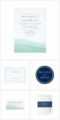 Seaglass Tides Watercolor invitation set | Blue and Green