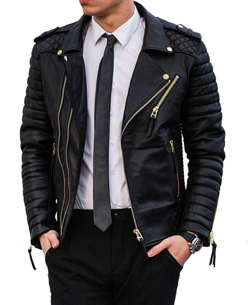 Men S Stylish Motorcycle Lambskin Genuine Leather Biker Jacket Black Gold Zipper Leather Jacket Outfit Men Mens Leather Clothing Leather Jacket [ 1000 x 815 Pixel ]