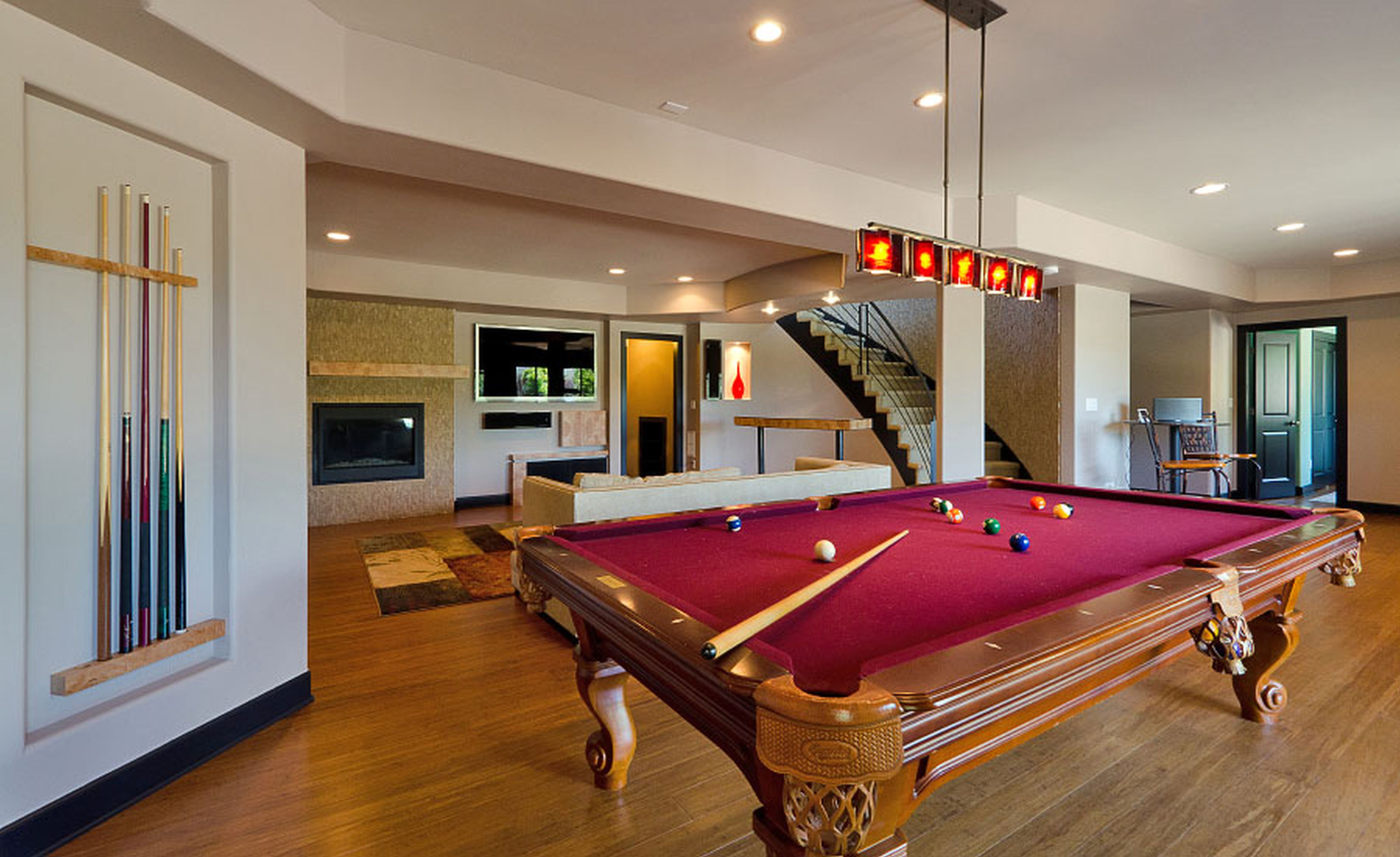 Alluring Finished Basement Idea With Gorgeous Pool Table