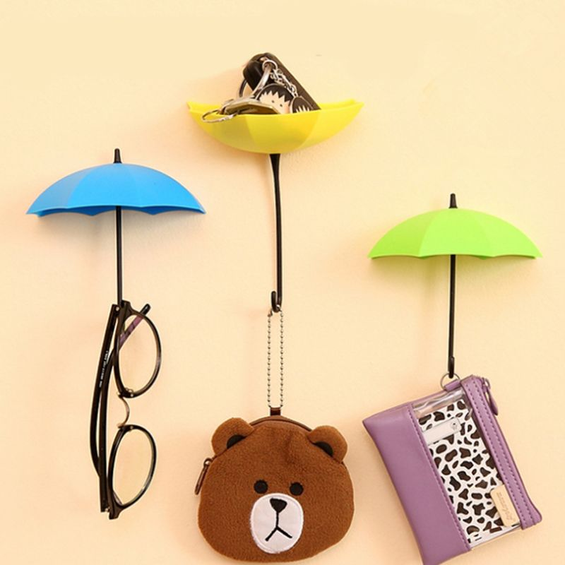 Creative 3PCS/set Umbrella Shape Clothes Key Hat Holder Wall Hook ...