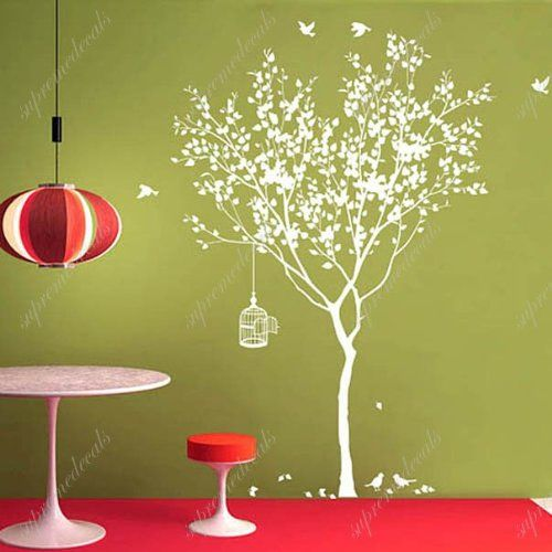 Custom PopDecals - Spring Tree with bridcage - Beautiful Tree Wall ...