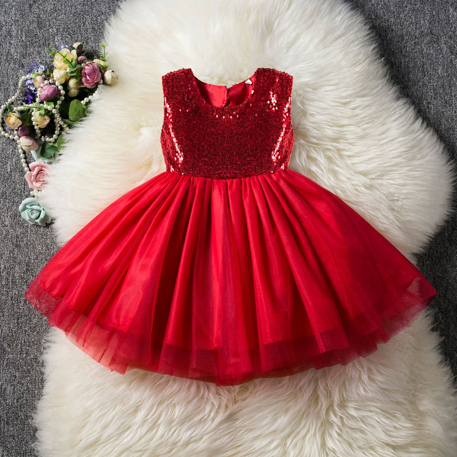 Baby/ Toddler Girl's Sequin Decor Tulle Party Dress #babygirlpartydresses