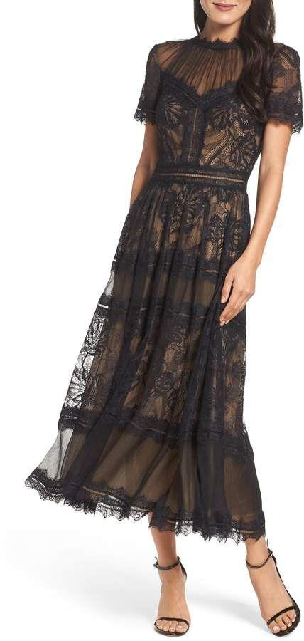 Womens Tadashi Shoji Lace Midi Dress Size 4 Black