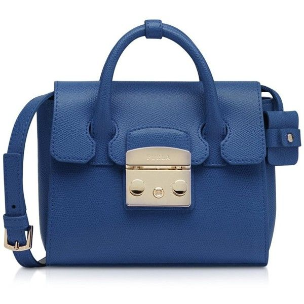 Furla Handbags Metropolis Blu Colbalto Leather Mini Satchel (6.210 ARS) ❤ liked on Polyvore featuring bags, handbags, blue, leather satchel purse, leather purses, leather hand bags, handbag purse and furla handbags