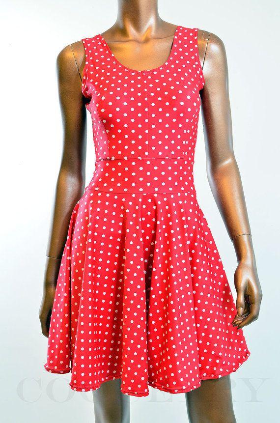 f6491e92c723 Red   White Polka Dot Pinup Skater Dress