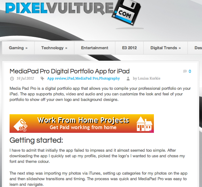 Pixel Vulture reviews MediaPad Pro Digital Portfolio App