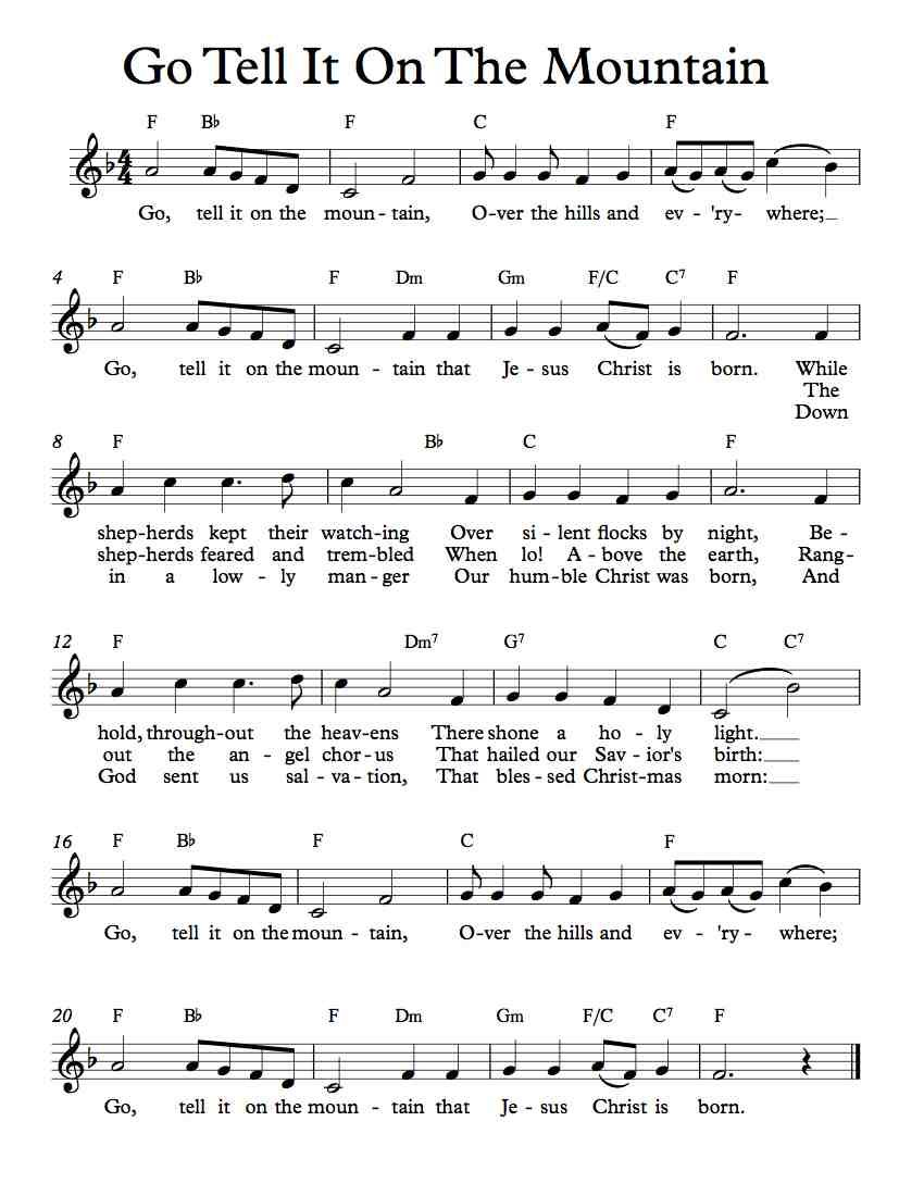 Free Sheet Music - Free Lead Sheet - Go Tell It On The
