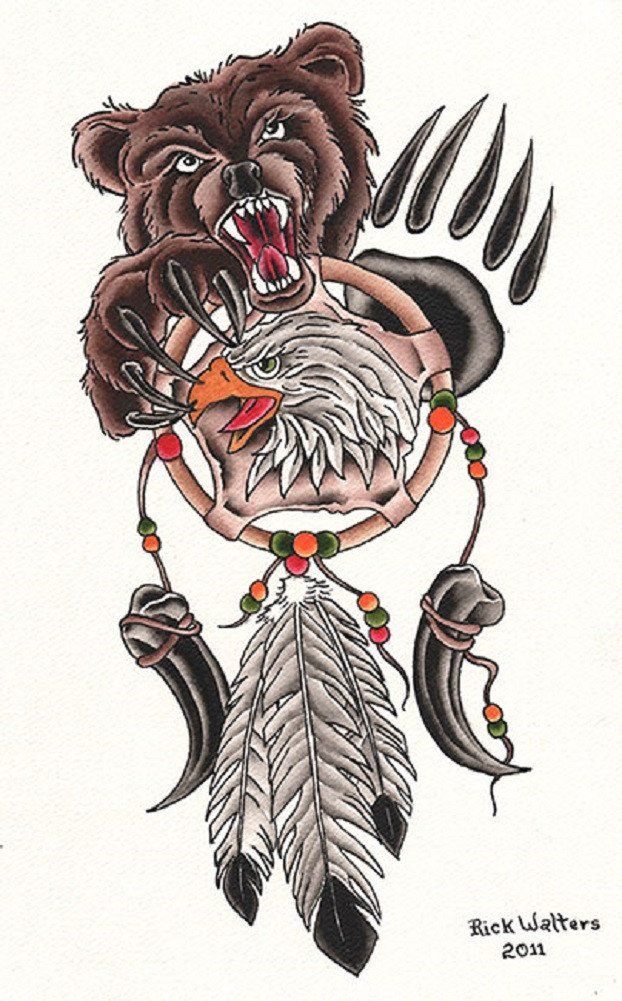 Dream Catcher by Rick Walters Tattoo Native Bear Canvas