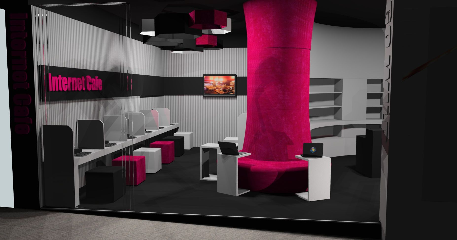 peach factory internet cafe design | 3d design work | pinterest