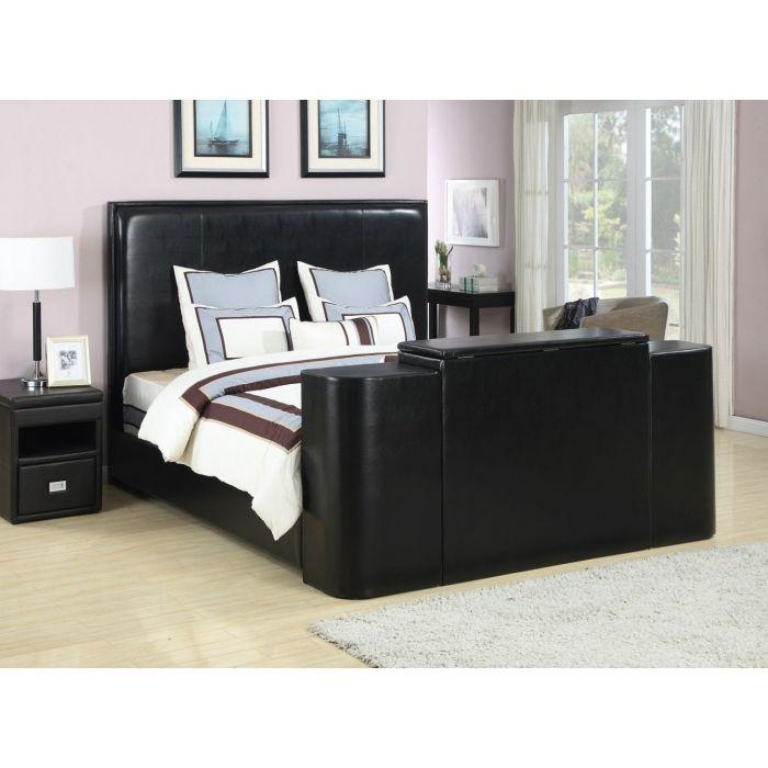 Miles Black King Bed With Tv Lift Black King Bed Black Bedding