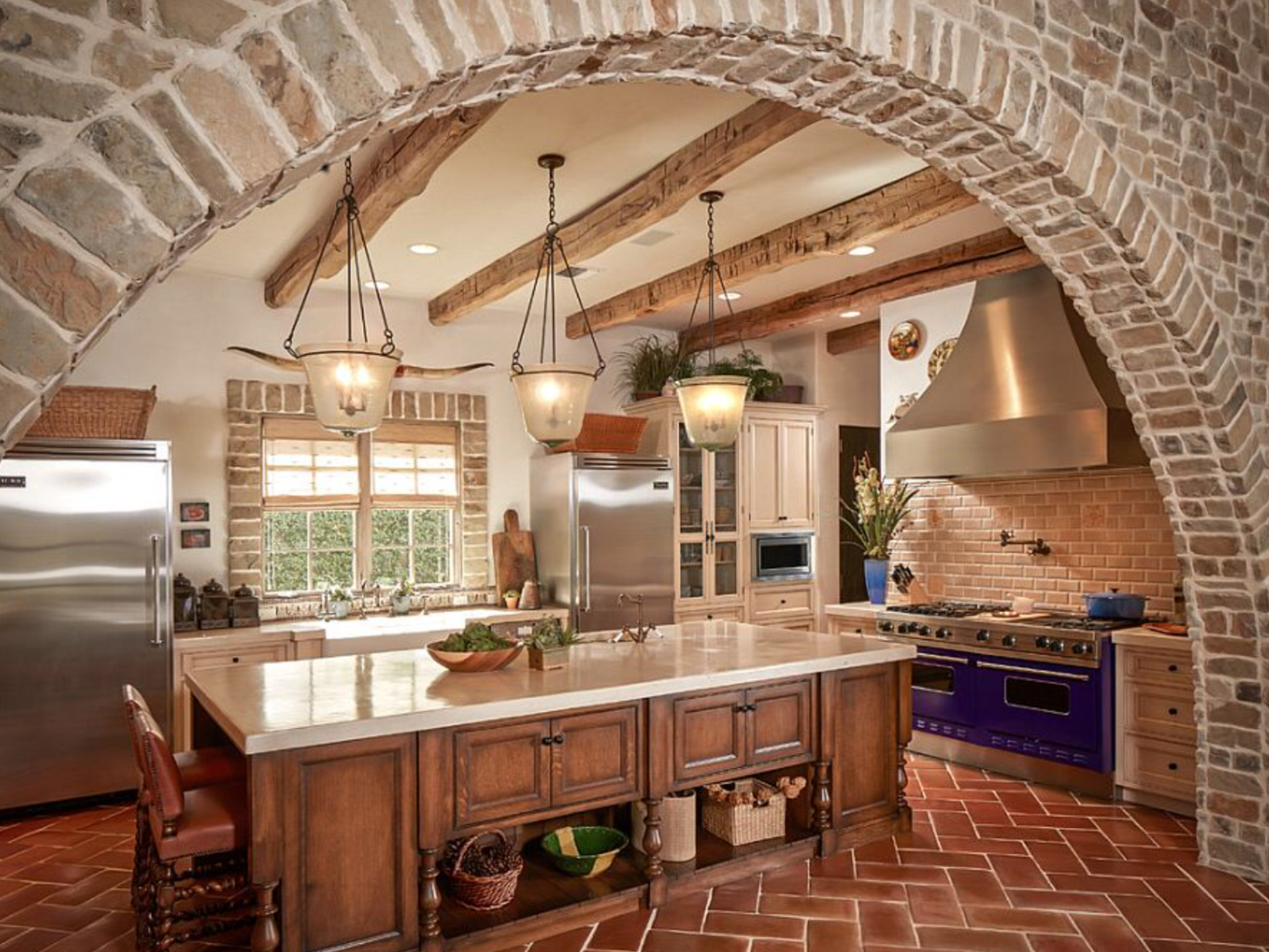 A Little Much But I Like This Concept Brick Kitchen