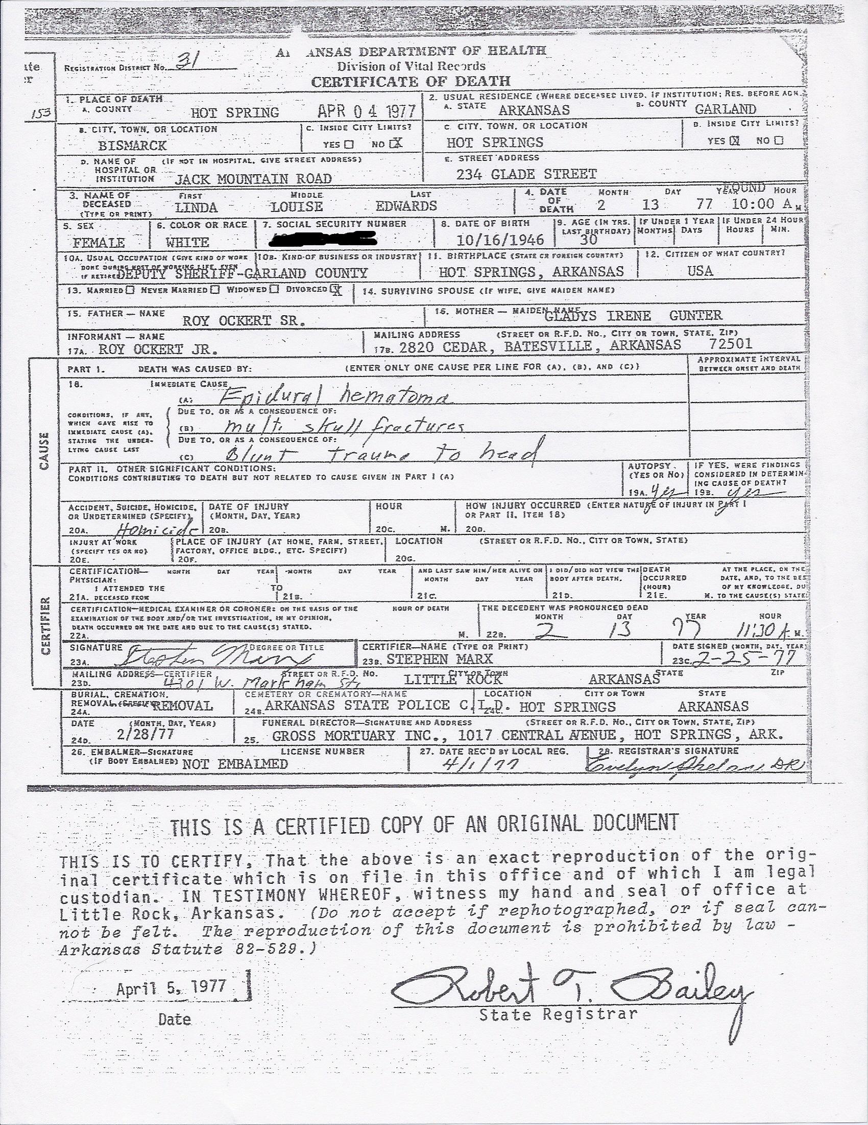 Redacted Death Certificate Forensic Science Mysteries