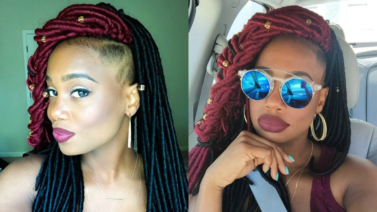 Havana mambo faux locs crochet braids with shaved sides plus