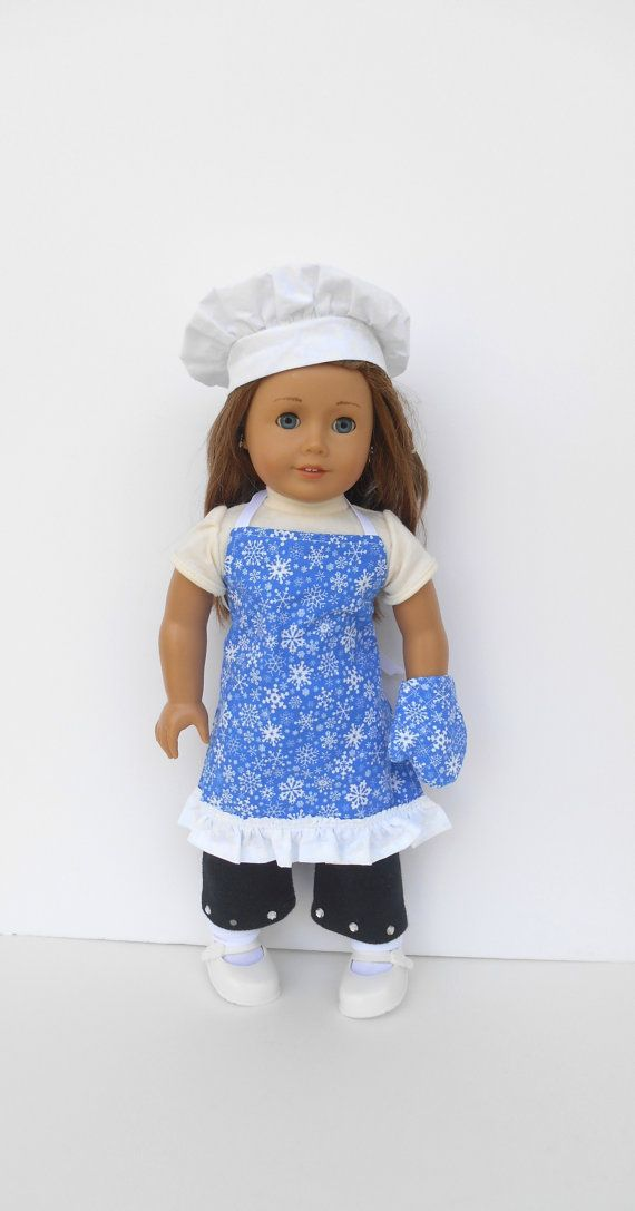 Blue Snowflake Doll Apron Chef's Hat Oven Mitt by DonnaDesigned