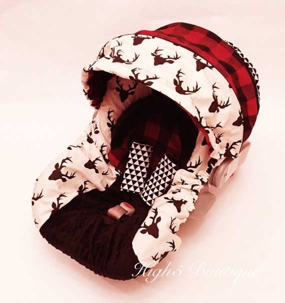 Boutique Infant Boys Car Seat Canopy Cover White Red Buffalo Check Deer Head Buck