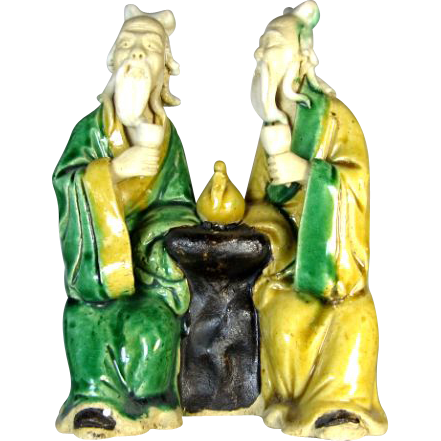 Chinese Mudmen Rare Seated Pair With Teapot Symbol For