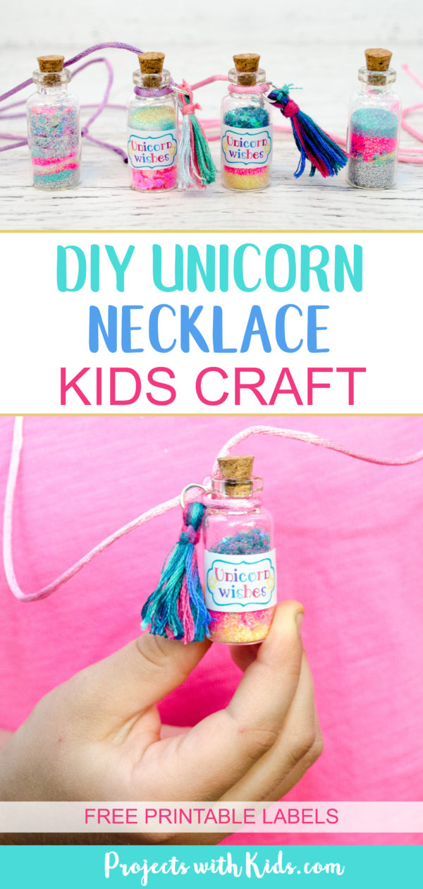 DIY Unicorn Necklace Kids Craft with Free Printable Labels - Diy unicorn necklace, Birthday party crafts, Kids birthday crafts, Birthday crafts, Diy crafts for kids, Printables free kids - This unicorn necklace kids craft is magical! Kids will love creating their own jars of unicorn wishes and customizing their necklaces