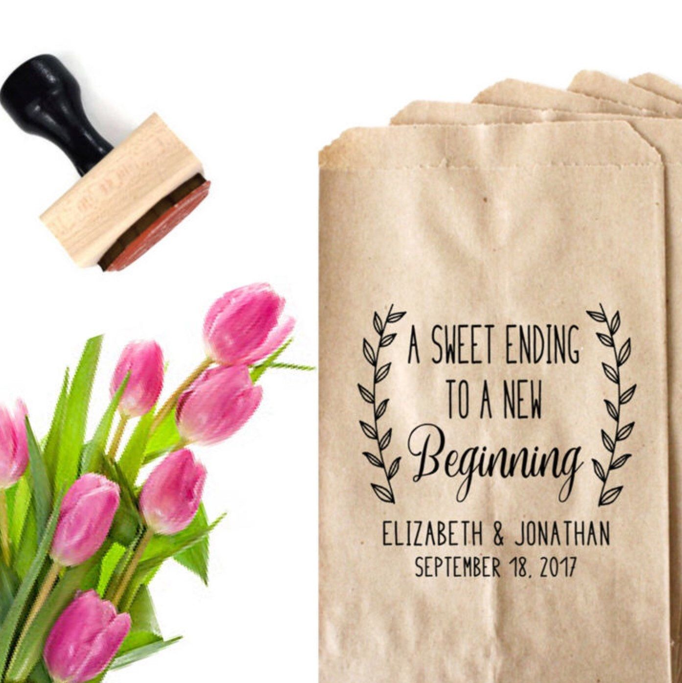 Wedding Favor Bag Stamp - A Sweet Ending To A New Beginning Bag ...