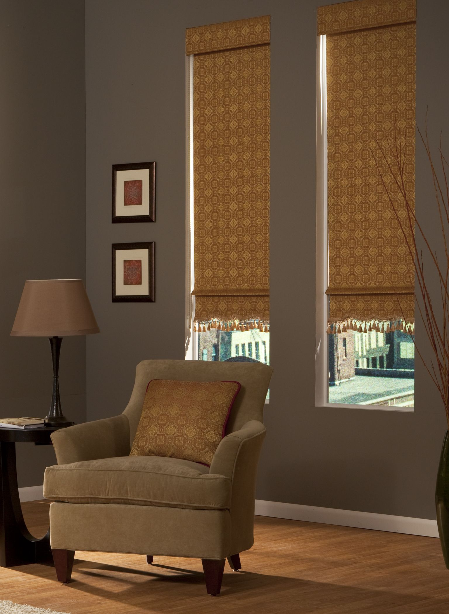 Add Extra Flair With Decorative Roller Shades Featuring A