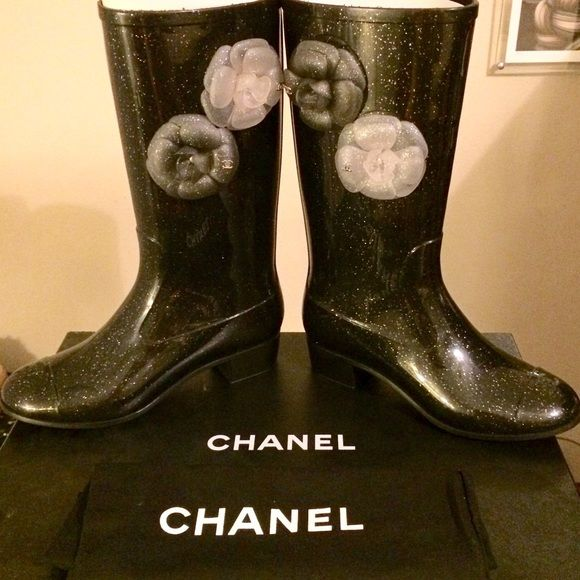 "Selling this ""✨GORGEOUS Chanel Camelia Glitter Rainboots"" in my Poshmark closet! My username is: acapr220. #shopmycloset #poshmark #fashion #shopping #style #forsale #CHANEL #Shoes"