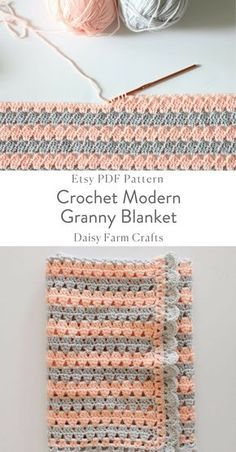 Crochet Modern Granny Blanket in Peach and Grey Pa