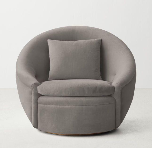 RH TEENu0027s Oberon Velvet Swivel Chair:Circular Logic. Our Cozy Tub Chairu0027s  Enveloping Frame