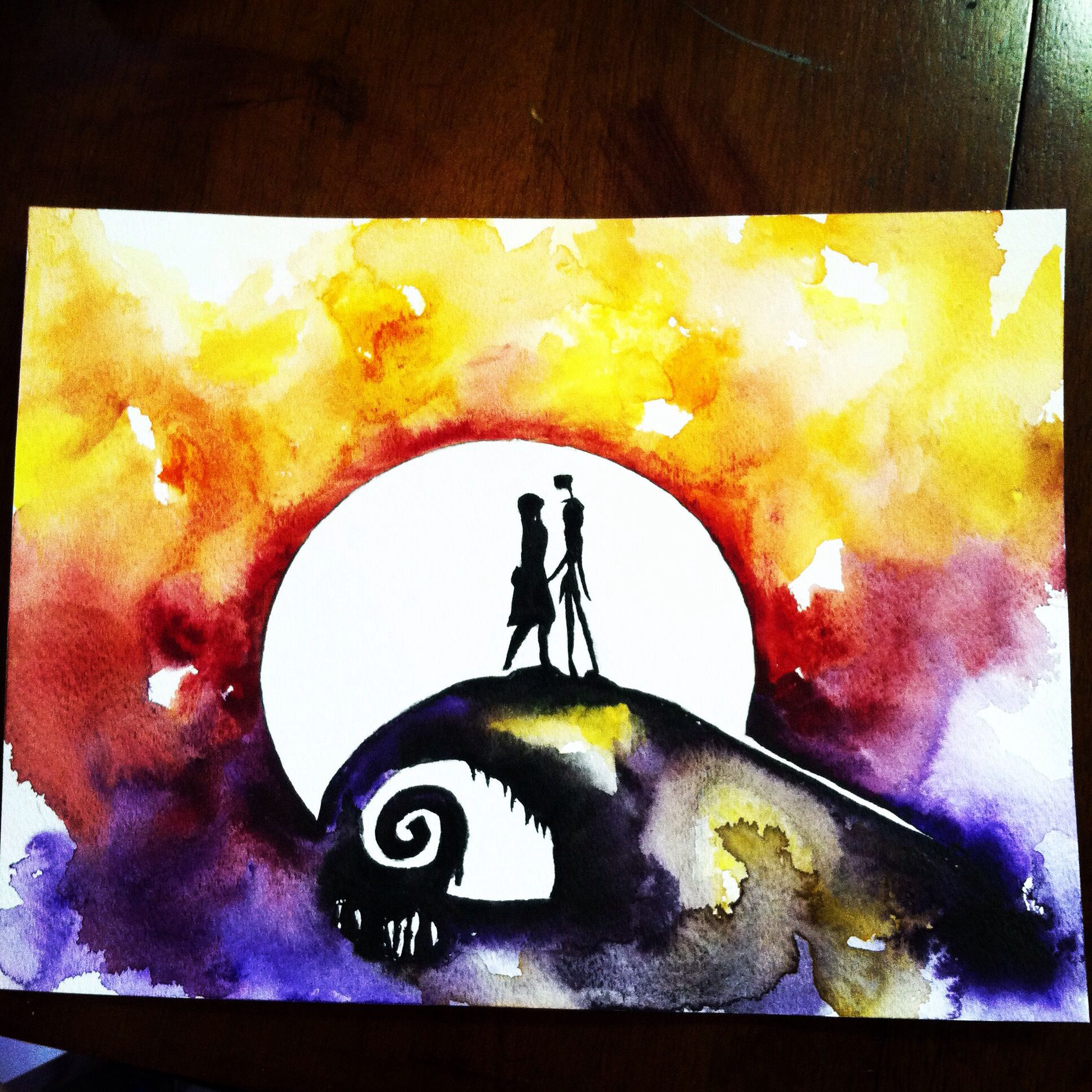 Jack and Sally. A Nightmare before Christmas. Watercolor 2014 | Art ...